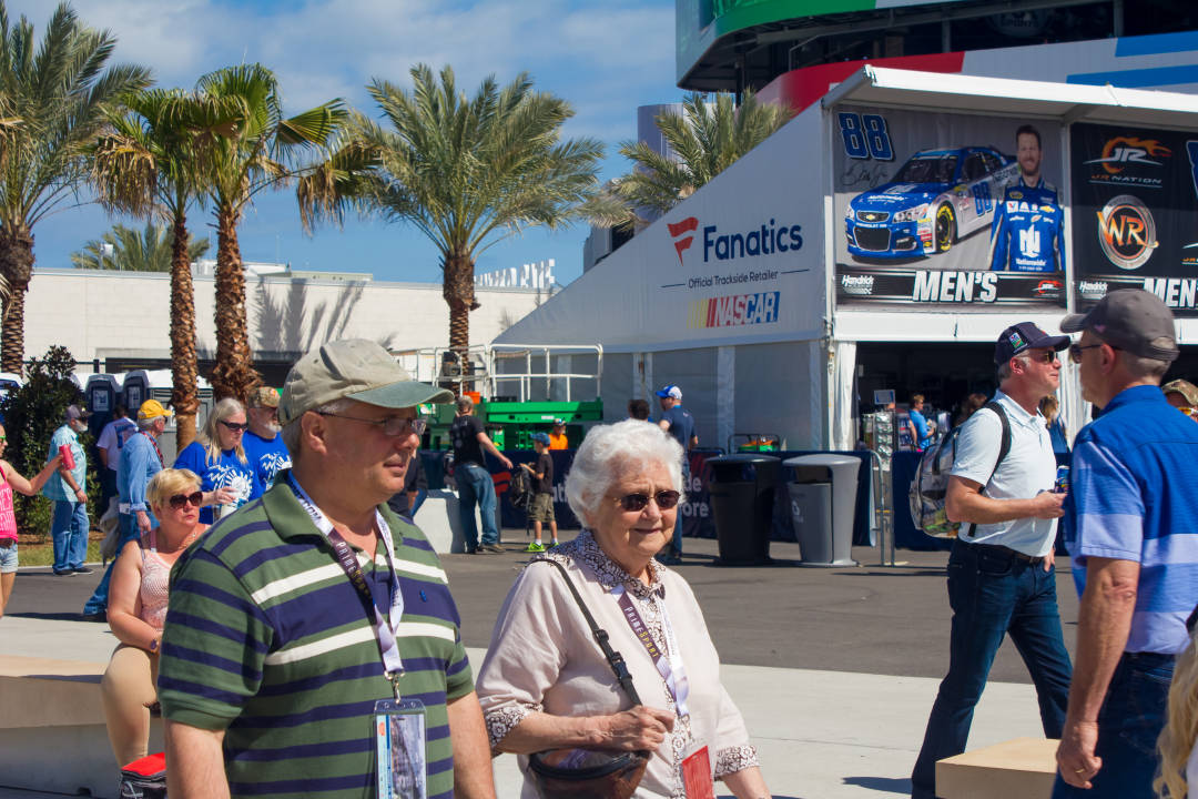 Senior Citizen Irene and her son Dion at Daytona International Speedway