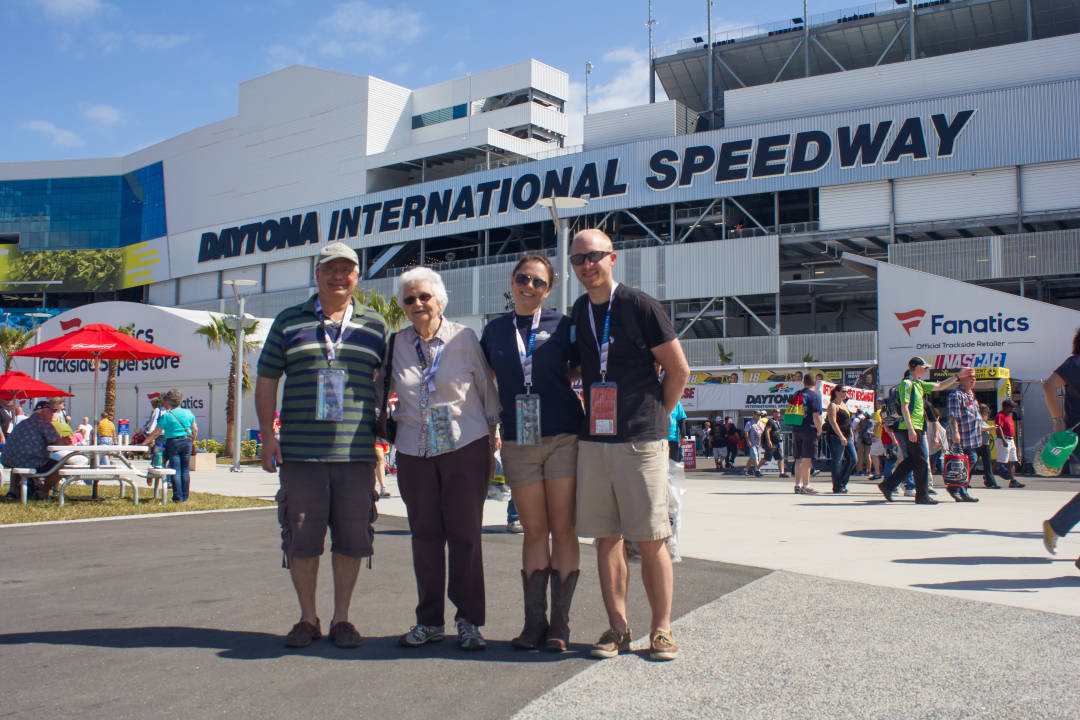 Irene and her Family at the Daytona International Speedway